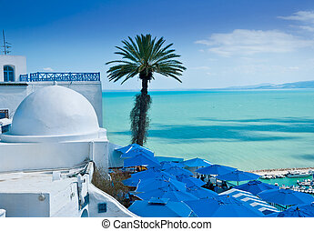 Sidi Bou Said, Tunis - A view of Sidi Bou Said, traditional...