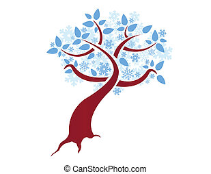 stylized winter snowflake tree illustration design over...