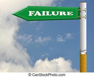 Failure cigarette road sign