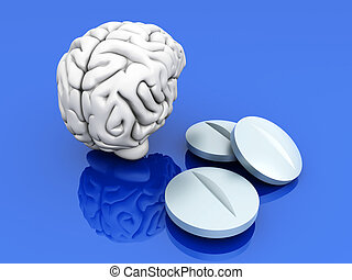 Brain Pills - Some pills for the Brain. Symbolic for Drugs,...