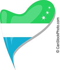 sierra leone in heart. Icon of sierra leone national flag. vector