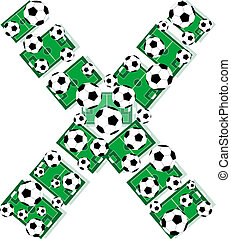 X, Alphabet Football letters made of soccer balls and fields