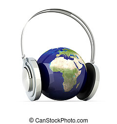Sound of Europe - The music of Europe. Headphones and a...