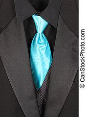 Primer plano, tres, pedazo, Traje, azul, corbata