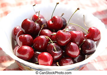 Cherry - Red sweet cherry in a plate