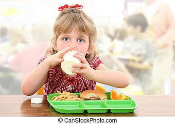 わずかしか, 学校, 昼食, 女の子, 愛らしい, 持つこと