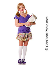 Happy school girl with books