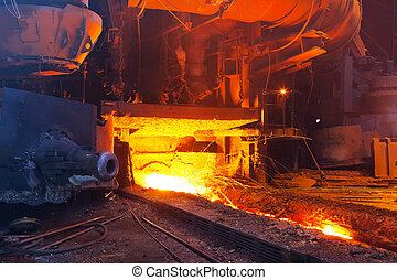Blast furnace - Close view of working blast furnace at the...