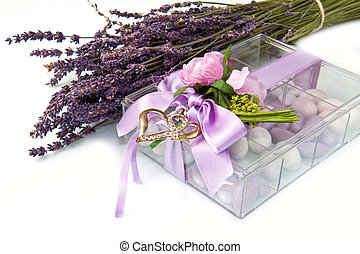 favor - wedding favor with lavender flowers isolated on...