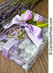 favor - wedding favor with lavender flowers  on wooden table