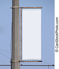 blank advertising billboard isolated on blue background