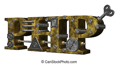 php - machine letters php on white background - 3d...