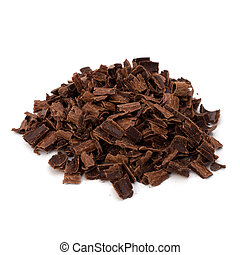 Crushed chocolate shavings pile isolated on white background