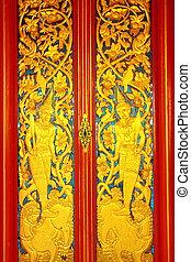 Door of Buddhist church of Wat Pra Thart Panom,Nakorn Panom