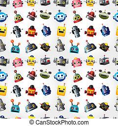 cartoon robot face seamless pattern