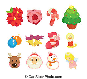 cute cartoon Christmas element icon set