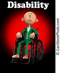 Disability - A disabled cartoon man in a wheelchair.