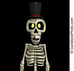 Top Hat Skeleton - A skeleton wearing a fancy top hat.