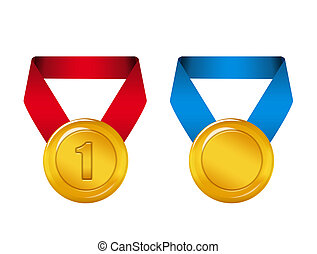 medals - gold, red and blue medals isolated over white...