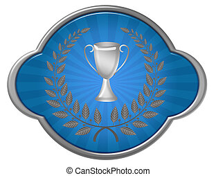 trophy illustration - blue and silver trophy with laurel...