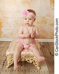słodki, Mały, niemowlę, dziewczyna