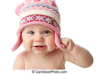 Baby wearing winter hat
