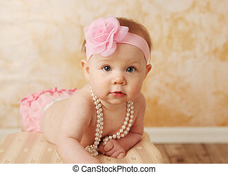 Sweet baby girl - Adorable young baby girl wearing a vintage...