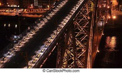 Dom Luis I bridge at night - Dom Luis I bridge in Porto,...
