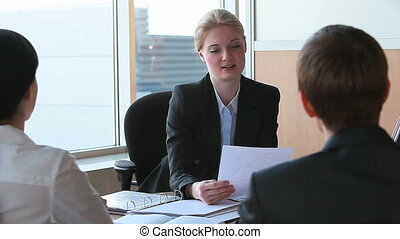 Work results - Businesswoman sharing information with her...