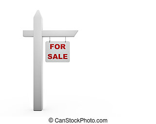 for sale sign isolated on white background