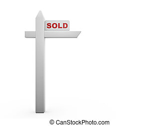 red sold sign isolated on white background