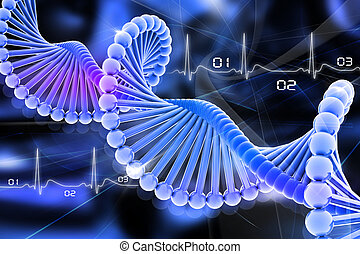 dna - 3d dna in color background