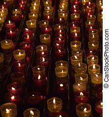 Candles in memory about died in a cathedral of Marseilles