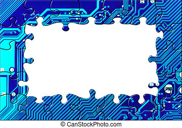 Computer board made of puzzle - technology concept...