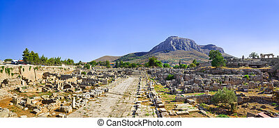 Ruins of town in Corinth, Greece - archaeology background