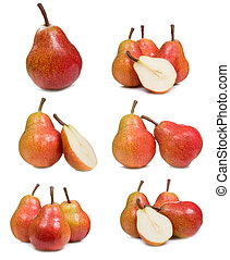 set with fresh pears