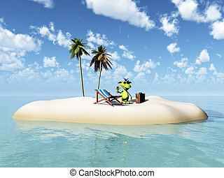 Cute cartoon monster taking vacation on island. - A cute...