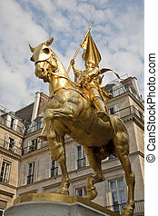 Saint Joan of Arc - Paris - The golden statue of Saint Joan...