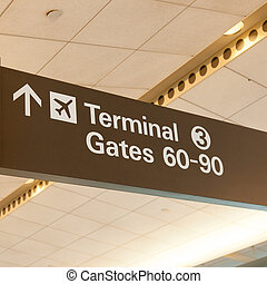 Terminal 3 - Informational sign showing gate numbers at...