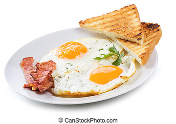 fried eggs with bacon and toasts on white background