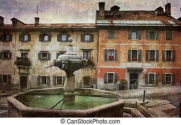 Village square Italy - Beautiful Italian village square in...