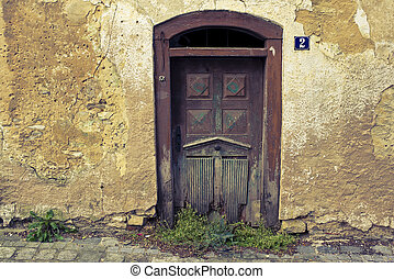 Old and beautiful door - Beautiful old door of a bandoned...