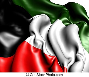 Flag of Kuwait against white background. Close up.