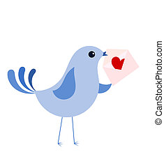 Blue bird with love letter - Blue bird with love card