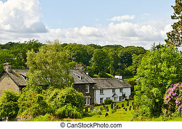 Whitewashed cottage in woodland setting. - A whitewashed...