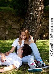 Young Couple in the park having fun, dating