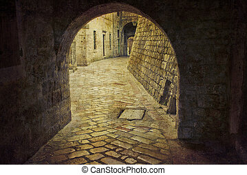 Alley Kotor Montenegro. Postcard from Montenegro. Several of...