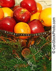 Apples and Oranges in Crystal Bowl - Apples and Oranges in a...