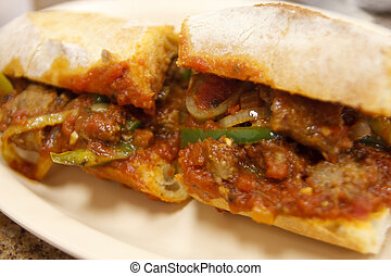 Meatball and Sausage Sandwich - A hot fresh meatball and...