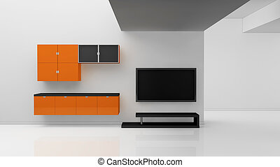 modern living room - minimal living room with a television...